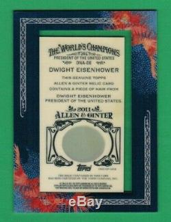 2011 Allen & Ginter Topps Dwight Eisenhower Encadrée Véritable Cheveux Relic 1/1