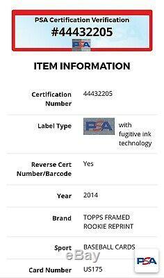 2014 Topps Mike Trout Encadrement Rookie Rp Auto- Psa / Adn Mlb Hologram 1/1 Rare
