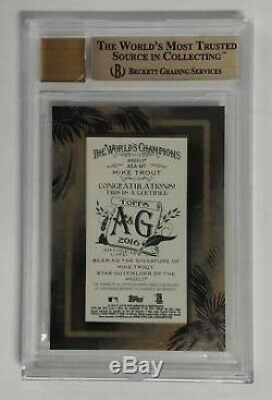 2016 Allen & Ginter Topps Black Framed Mini Mike Trout # 25 / Bgs 9.5 Auto 10