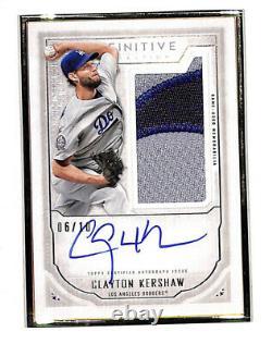 2019 Clayton Kershaw Definitive Topps 6/10 Dodgers Carte Encadrée Patch Automatique