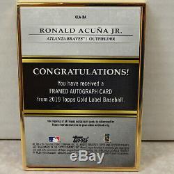 2019 Gold Label Gold Topps Encadré Ronald Acuna Jr Braves Carte Auto # 10.02