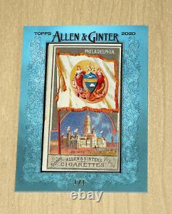 2020 Topps Allen/ginter Originale Encadrée 1888 City Flags Philadelphie True 1/1