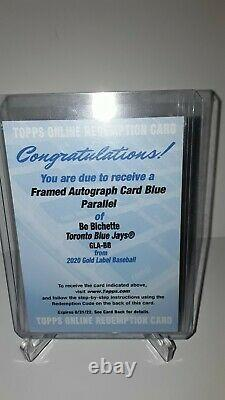 2020 Topps Gold Label Bo Bichette Rookie Framed Auto Blue Rc Autographe