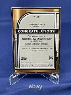 2021 Collections Du Musée Topps Baseball Greg Maddux 10/10 Or Frame Auto