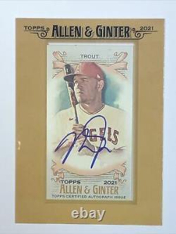 2021 Thèmes Allen & Ginter Mike Trout Gold Framed Sur Carte Auto Mini Autographe