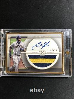 2021 Topps Définitif Christian Yelich Gold Framed Patch Auto /25 Brewers