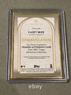 2021 Topps Definitive Casey Mize Rc Cadre D'or Sur Carte Auto /10 Détroit Tigres