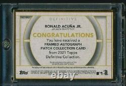 2021 Topps Definitive Gold Framed Patch Relic Auto Ronald Acuna Jr. Braves 04/10