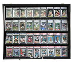36 Graded Baseball Football Basketball Pokemon Card Display Case Frame, Cc02-bla