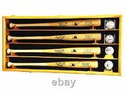 4 Bâton De Baseball & Ball Cabinet Display Case Wall Mount Bat Rack Cube Display