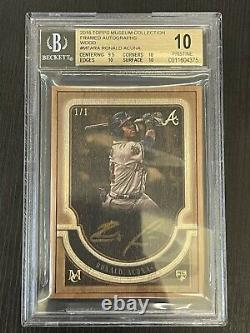 Ag 2018 Topps Museum Framed Wood Auto Rc Ronald Acuna Jr 1/1 Bgs 10 Braves