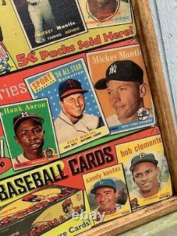 Antique Rustique Énorme 24x48 1952 1959 Signes En Bois Framed- Topps Mantle Wow