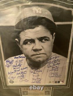Babe Ruth Encadré New York Yankees Lithographie 23 Hofs Autographié Steiner Coa