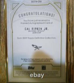 Cal Ripken Jr. 2019 Topps Definitive Gold Framed Purple Auto/autograph 03/10