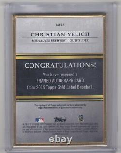 Christian Yelich 2019 Étiquette D'or Topps Encadrée Auto Bleu # D / 10 Milwaukee Brewers