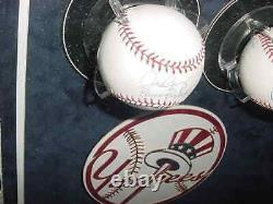 Derek Jeter & Alex Rodriguez Signé Jeu De Balle De Baseball Automatique Used Base Encadré Jsa
