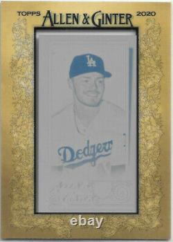 Gavin Lux 2020 Topps Allen & Ginter Framed Printing Plate True 1/1 Rc Dodgers