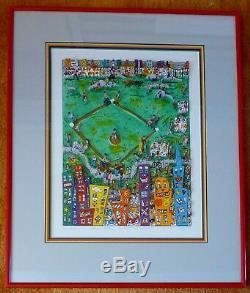 James Rizzi Baseball Comme IL Devrait Être 1987 3-d Pop Art Encadré Serigraph