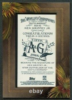 Ken Griffey Jr 2016 Topps Allen & Ginter Encadré Mini Autographe Ssp Rare