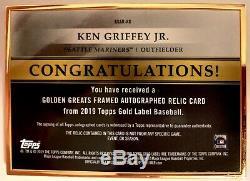 Ken Griffey Jr. 2019 Étiquette D'or Topps Golden Greats Framed Auto Relics Noir 1/5