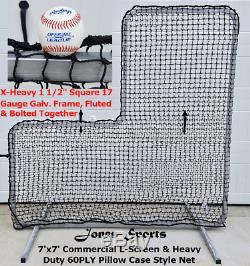 L-écran 7' X 7' Professional Baseball Sécurité Et Cadre 90ply Net Pitcher L Écran