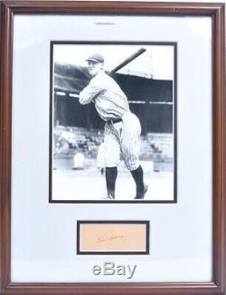 Lou Gehrig Signé Cut Autograph Sur Papier Très Vieux Avec Photo Et Encadré