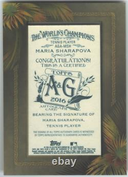 Maria Sharapova'16 Topps Allen & Ginter Encadré Mini Carte Autographe Auto