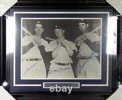Mickey Mantle, Dimaggio & Ted Williams Autographié Encadré 16x20 Photo Jsa Y38556