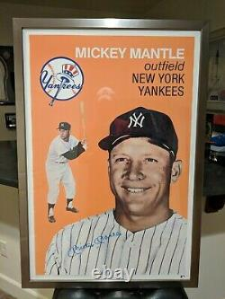 Mickey Mantle Signed Poster (1958 Topps) Steiner Auto Encadré (rare)