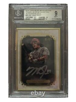 Mike Trout 1/15 2014 Topps Museum Collection Gold Frame On Card Auto Bgs 9 Mint