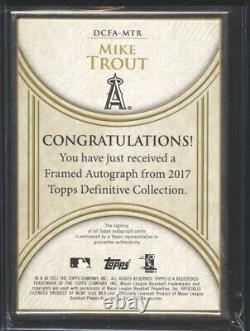 Mike Trout 2017 Topps Collection Définitive Autographe Encadré Auto 1/5