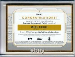 Mike Trout 2020 Topps Définitif Gold Framed Patch Auto 8/10 Sp Angels