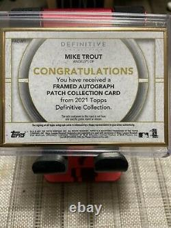 Mike Trout 2021 Topps Definitive Gold Framed Patch Auto 8/15
