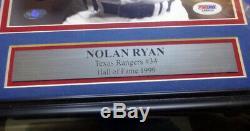 Nolan Ryan Autographié Signé Encadrée Photo 8x10 Rangers Sanglante Psa / Adn 94192