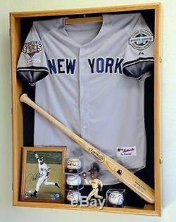 Profonde Sport Jersey Shadow Box Vitrine Cabinet Batte De Baseball Balles Trophées