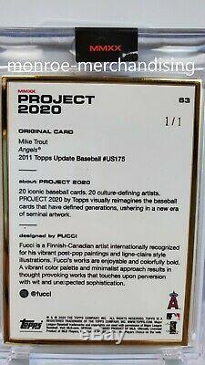 Projet 2020 Topps 63 Mike Trout Par Fucci Gold Frame 1/1 2011 Us175 @fucci