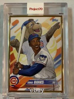 Projet Topps 70 Carte 48 2018 Ernie Banks By Quiccs 1/1 Gold Frame