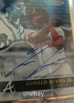 Ronald Acuna Jr 2020 Topps Gold Label Encadré Blue Auto #/50 Sp Braves