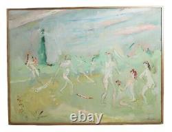 Sterling Strauser (américain En 1907 En 1995) Peinture À L'huile Nues Jouant Baseball