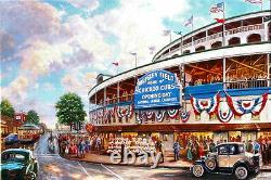 Thomas Kinkade Wrigley Field Memories And Dreams 18 X 27 S/n Toile Baseball