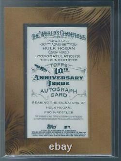 Topps 2015 Allen Ginter Hulk Hogan 10ème Anniversaire Sur Card Framed Auto 09/10