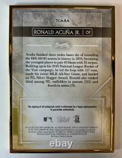 Topps 2020 Transcendant Gold Frame Ronald Acuna Auto 11/15 El Abusador