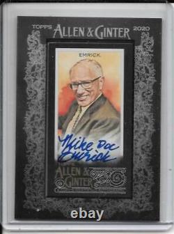 Topps Allen 2020 & Ginter X Mike Doc Emrick Encadré Mini Autograph Black 06/10