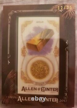 Topps Allen Et Ginter 2017 Mini Gems Encadrés Et Ancienne Relique Fossile #gafg Gold