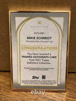 Topps Définitif 2021 Mike Schmidt 02/30 Or Encadré Sur Card Auto Phillies Sp