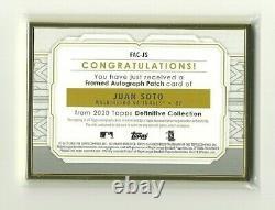 Topps Définitif Juan Soto Gold Metal Frame 3-color Patch Autograph # 15/15