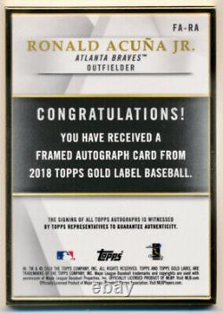 Topps Gold Label 2018 Framed Auto Ronald Acuna Rookie /50 Mint Clean