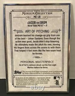 Topps Museum Collection Jacob Degrom Silver Framed/ink Auto #/10ny Mets 2015