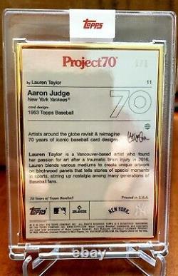 Topps Project70 Aaron Judge Par Lauren Taylor 1/1 Gold Frame Project 70