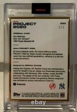 Topps Project 2020 Carte #333 1984 Don Mattingly Par Sophia Chang Gold Frame#d 1/1